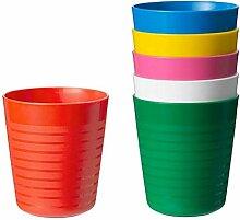 Ikea KALAS Beker, Diverse kleuren x6, Kunststoff,