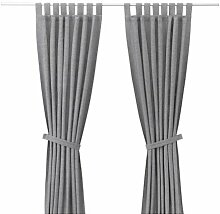 IKEA LENDA 2 Gardinen + Raffhalter in grau;