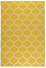 Ikea Stockholm Teppich in gelb; Netzmuster; flach