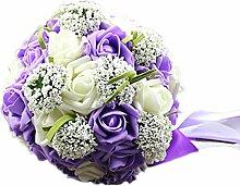 ikerenwedding Handmade Dekoration Blumen PE Rose Braut Halt Hochzeit Bouquet, mit Band, violett, 7*10 Inch