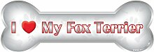 ileesh I Love My Fox Terrier Bone Auto-Magnet, reflektierende chrom
