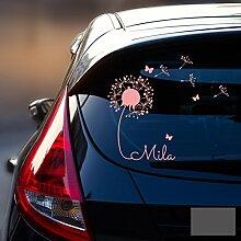 ilka parey wandtattoo welt® Autotattoo Heckscheibenaufkleber Fahrzeug Aufkleber Sticker Baby Name Pusteblume M1864 - ausgewählte Farbe: *dunkelgrau* ausgewählte Größe: *M - 28cm breit x 25cm hoch*