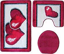 Ilkadim Badgarnitur 3-teilig rot weiß, Motiv Herz