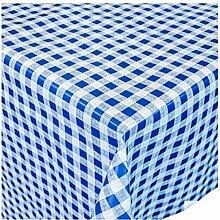 Ilkadim Wachstuch Tischdecke 140cm rund blau weiß