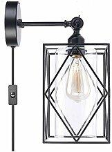 ILKJ Retro Glas Lampenschirm Wandleuchte mit
