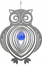 Illumino Edelstahl-Windspiel Eule mit kobaltblauer
