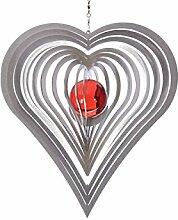 Illumino Edelstahl-Windspiel Herz mit rubinroter