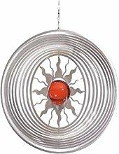 Illumino Edelstahl-Windspiel Sol mit rubinroter