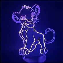 Illusion LED Nachtlicht Cartoon Der Löwe 3D Licht