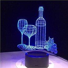 Illusion LED Nachtlicht Glas Weinflasche USB 3D