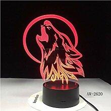 Illusion LED Nachtlicht Wolf 3D Lampe Schöne 7