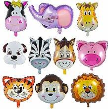 iLoveDeco 10-Pack Folienballon Tiere, Tier Ballon