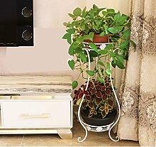 Im europäischen Stil Balkon Blumenständer, Eisen mehrstöckiges Wohnzimmer Innenboden grün Rettich Blumentöpfe Pflanze Racks mehr Fleisch Blume Regal ( Farbe : Weiß , größe : 33*28*80cm )
