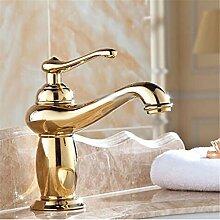 Im europäischen Stil Gold retro - führende alle Kupfer Einloch Mischbatterie Waschbecken mit warmen und kalten Wasserhahn Gold antik Waschbecken Wasserhahn