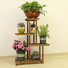 Im europäischen Stil Holz Blume Racks Multi-stöckige Decke BLUMENTOPF REGAL C