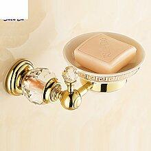 Im europäischen Stil Luxus voller Kristall Kupfer vergoldet Seifenschale/Bad-Accessoires Seifenschale Seifenhalter-B