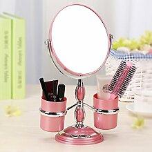 Im europäischen Stil Make-up-Spiegel Desktop Storage Box Spiegel Doppelseitiger Kosmetikspiegel 3-facher Vergrößerung Tragbare Hochzeit Prinzessin Spiegel ( Farbe : Pink )