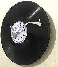 Im europäischen Stil retro nostalgische ultraleise Uhren Schallplatte Persönlichkeit Wanduhr cafes bar Wanduhren, digitale Weiß