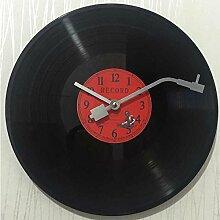 Im europäischen Stil retro nostalgische ultraleise Uhren Schallplatte Persönlichkeit Wanduhr cafes bar Wanduhren, digitale Ro