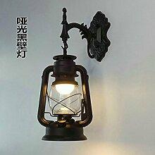 Im europäischen Stil Wandleuchte Wandleuchte Bar Restaurant Balkon Gang antike Retro eiserne Wand Lampe Petroleum Laterne, Schwarz matt Wandleuchte