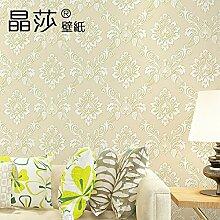 Im europäischen Stil Wohnzimmer TV Damaskus Wand Schlafzimmer Tapete 3D-Vlies Tapete,m,gelb