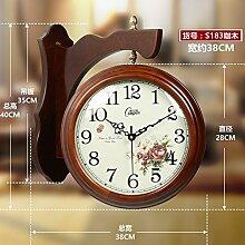Im Europäischen Stil Wohnzimmer Wanduhr Holz Mute Doppel Seite Clock Moderne Garten Grosse Quarzuhr Beobachten, 20 Zoll, Farbe