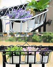 Im Freien Kraut Blumen Pflanze steht 2 Stück Hängende Geländer Eisen Blumentopf Rack Outdoor Hängende Balkon Blume Rack Im Freien Kraut Blumen Pflanze steht ( Farbe : White+Black , größe : L/45CM )