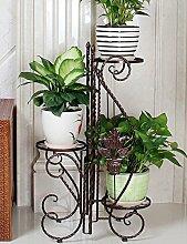 Im Freien Kraut Blumen Pflanze steht Eisen-Blumen-Rack-Blume mit drei Schichten Rack-Balkon Wohnzimmer Innenblumenzahnstange (3 Farben sind vorhanden) Im Freien Kraut Blumen Pflanze steht ( Farbe : A )