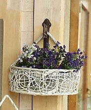 Im Freien Kraut Blumen Pflanze steht Rattan Blumen Racks Europäische Kreativ Balkon Wand Hanging Flower Rack Blume Körbe Weiß Im Freien Kraut Blumen Pflanze steht ( größe : 25*10*25cm )