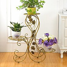 Im Freien Topfpflanzen Iron Flower Pot Rack, 3 Tiered Plant Display Stand Bonsai Halter Haus Garten Patio Decor Regal hält Schwarz / Gold / Weiß ( Farbe : E )