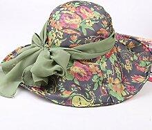 Im Sommer Sonnenhut cap Lady entlang Schleife Kappe UV-Sonnenschutz, Ausgewachsene Größe, grün