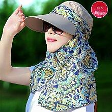 Im Sommer Sonnenhut hat alle weiblichen - match Abdeckung entlang der Gap zu UV-Sonnenschutz Schleier Hals schutz Sonnenhut, F verhindern, Khaki