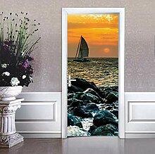 Im Sonnenuntergang am Meer Tür Tapete