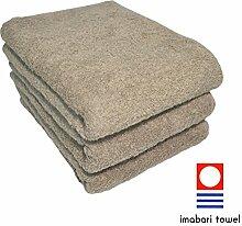 Imabari Handtuch-Set, dick, Weiß, 3 Stück braun