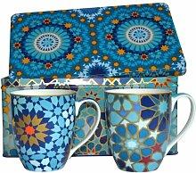 Images d'Orient Blechdose, 220ml, mit 2 Porzellantassen, Moucharabieh, Blau, 2er-Se