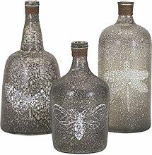 Imax Folly Glas Flaschen, grau, Set von 3