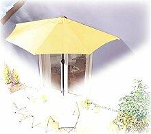 IMC® Sonnenschirm halbrund gelb Balkon mit Kurbel