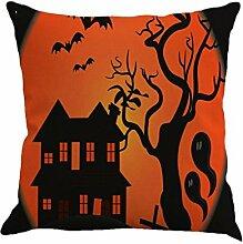 IMJONO Fröhliches Halloween Leinen Wurf Kissenbezug Startseite Sofa Dekor Neu 45X45 E (B)