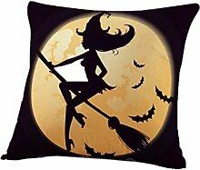 IMJONO Fröhliches Halloween Leinen Wurf Kissenbezug Startseite Sofa Dekor Neu 45X45 G (P)