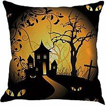IMJONO Fröhliches Halloween Leinen Wurf Kissenbezug Startseite Sofa Dekor Neu 45X45 F (D)