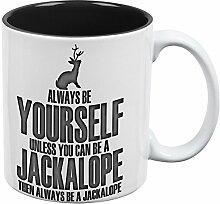 Immer sei du selbst Jackalope alles über Kaffee-Haferl schwarz-weißen eine Standardgröße