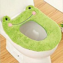 imorr WC-Sitz Wärmer Bezug Cute Cartoon Animal Closestool Badezimmer Waschbar Kissen Grüner Frosch