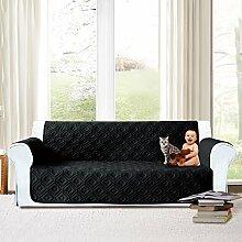 Imperial Rooms gesteppte Sofadecke, wasserdichter Sofaschutz mit gestepptem Muster., Schwarz , Three Seater