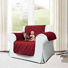 Imperial Rooms gesteppte Sofadecke, wasserdichter Sofaschutz mit gestepptem Muster., burgunderfarben, One Seater