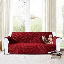 Imperial Rooms gesteppte Sofadecke, wasserdichter Sofaschutz mit gestepptem Muster., burgunderfarben, Three Seater