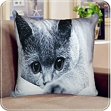 "Imperial Zimmer 3D Digital Foto Animal Print Kissen, Kunstleder Seude Home Decor Kissen, Starring Cat, Filled Cushion Cover 18.5""x18.5"