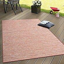 In- & Outdoor Flachgewebe Teppich Terrassen Teppiche Farbverlauf In Terracotta, Grösse:80x200 cm