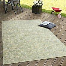 In- & Outdoor Flachgewebe Teppich Terrassen Teppiche Mit Farbverlauf In Grün, Grösse:80x200 cm