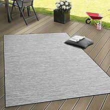 In- & Outdoor Flachgewebe Teppich Terrassen Teppiche Mit Farbverlauf In Grau, Grösse:60x100 cm