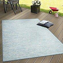 In- & Outdoor Flachgewebe Teppich Terrassen Teppiche Mit Farbverlauf In Blau, Grösse:160x220 cm